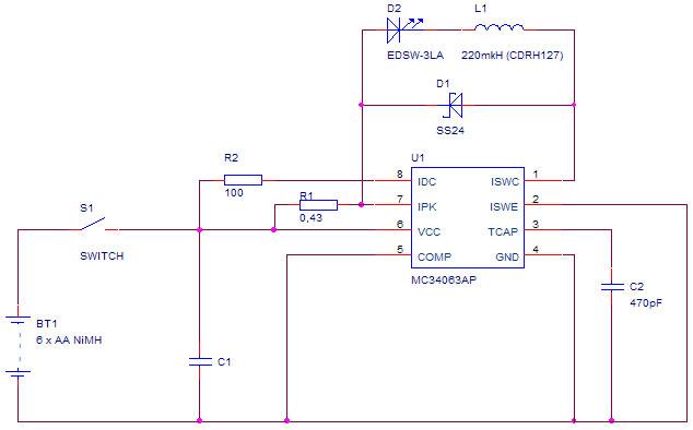 ...последовательно с диодом включен резистор 1ом ! номинал R1 0.82ома питание - 9вольт светодиод 1W. вариант...