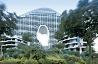 В Китае строят комплекс с проемами для скалолазания