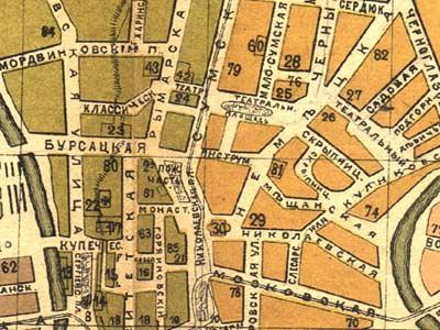 Старинная                            карта Харькова 1887 года с нанесенными выходами подземелий