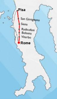 велопоход Пиза-Рим май2018